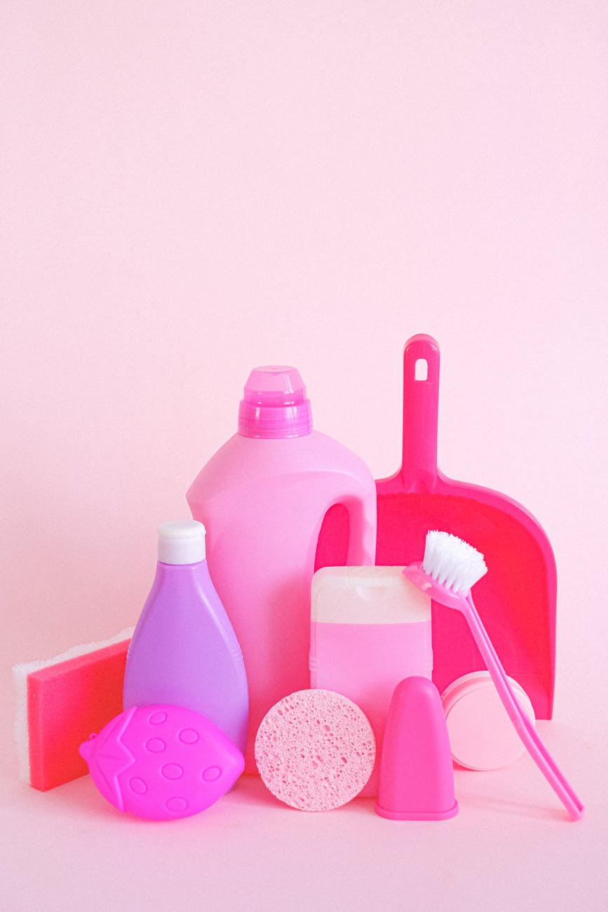 plastic containers with cleaning supplies for householdCheaper Means Less Quality
